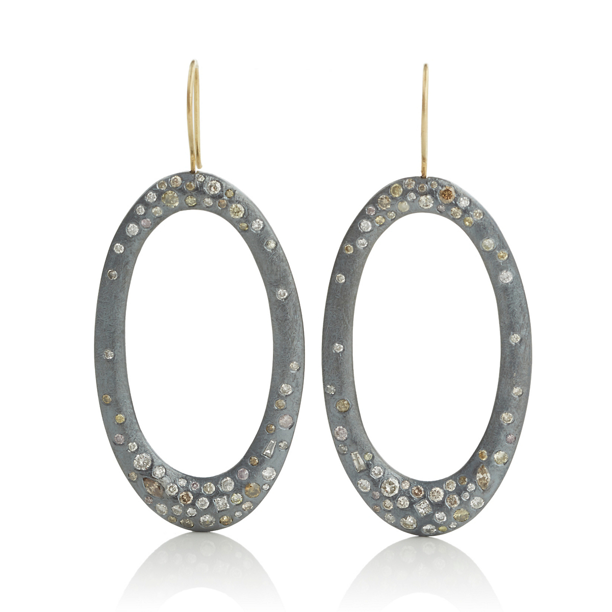 Todd Reed Oxidized Silver & Diamond Open Oval Earrings