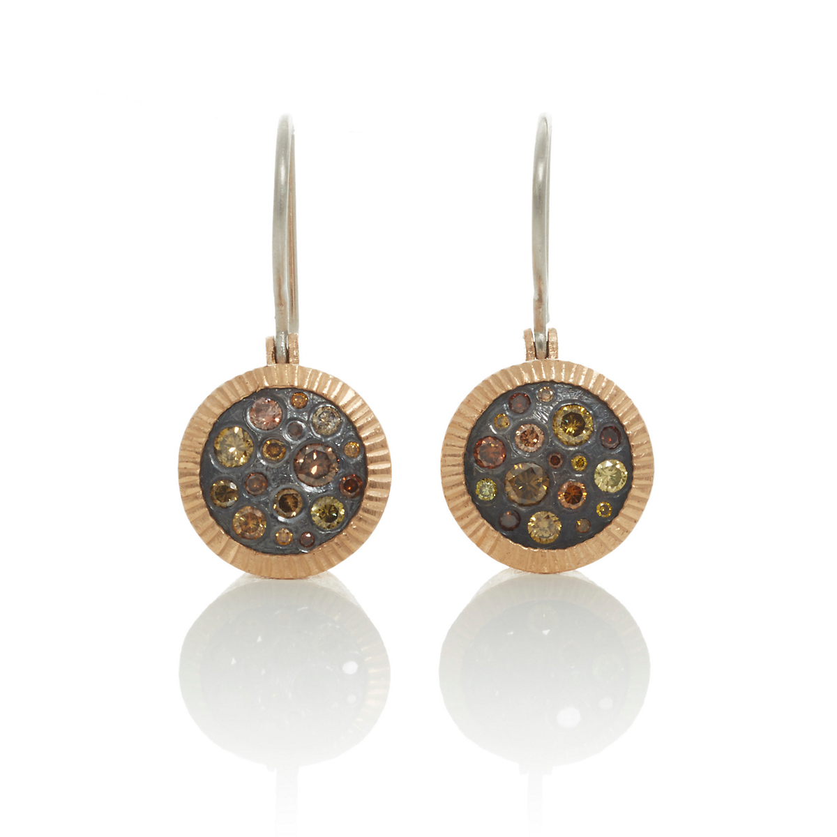 Todd Reed Rose Gold & Oxidized Silver Diamond Earrings