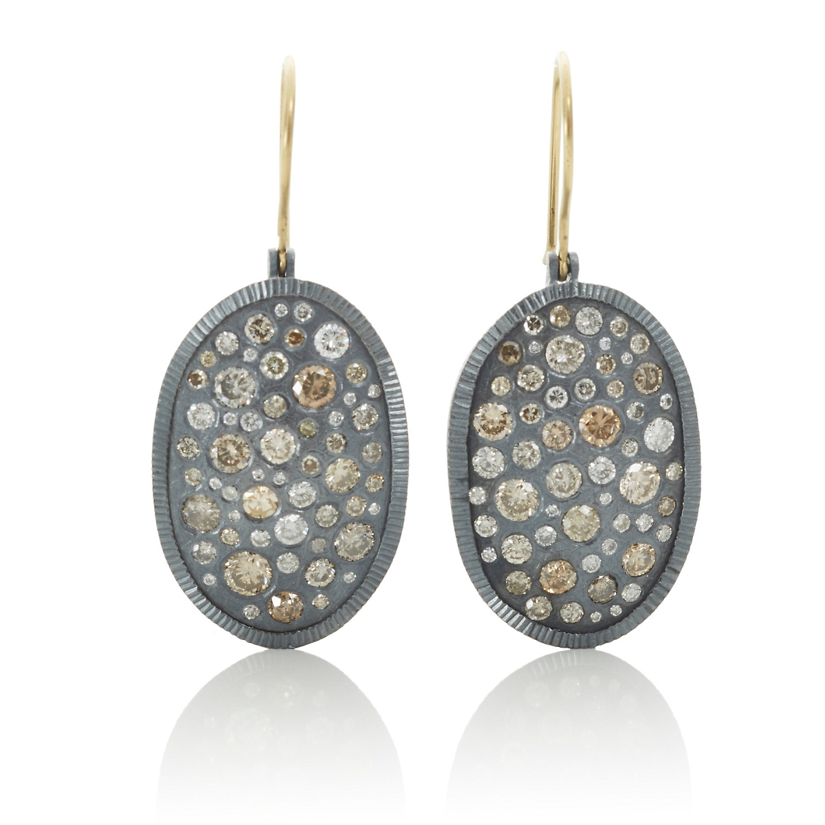 Todd Reed Oxidized Silver & Diamond Oval Earrings