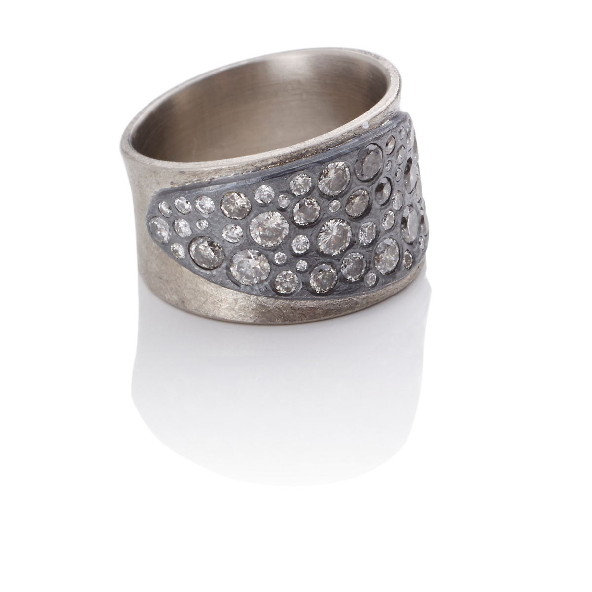 Todd Reed Palladium, Oxidized Silver & Diamond Band Ring