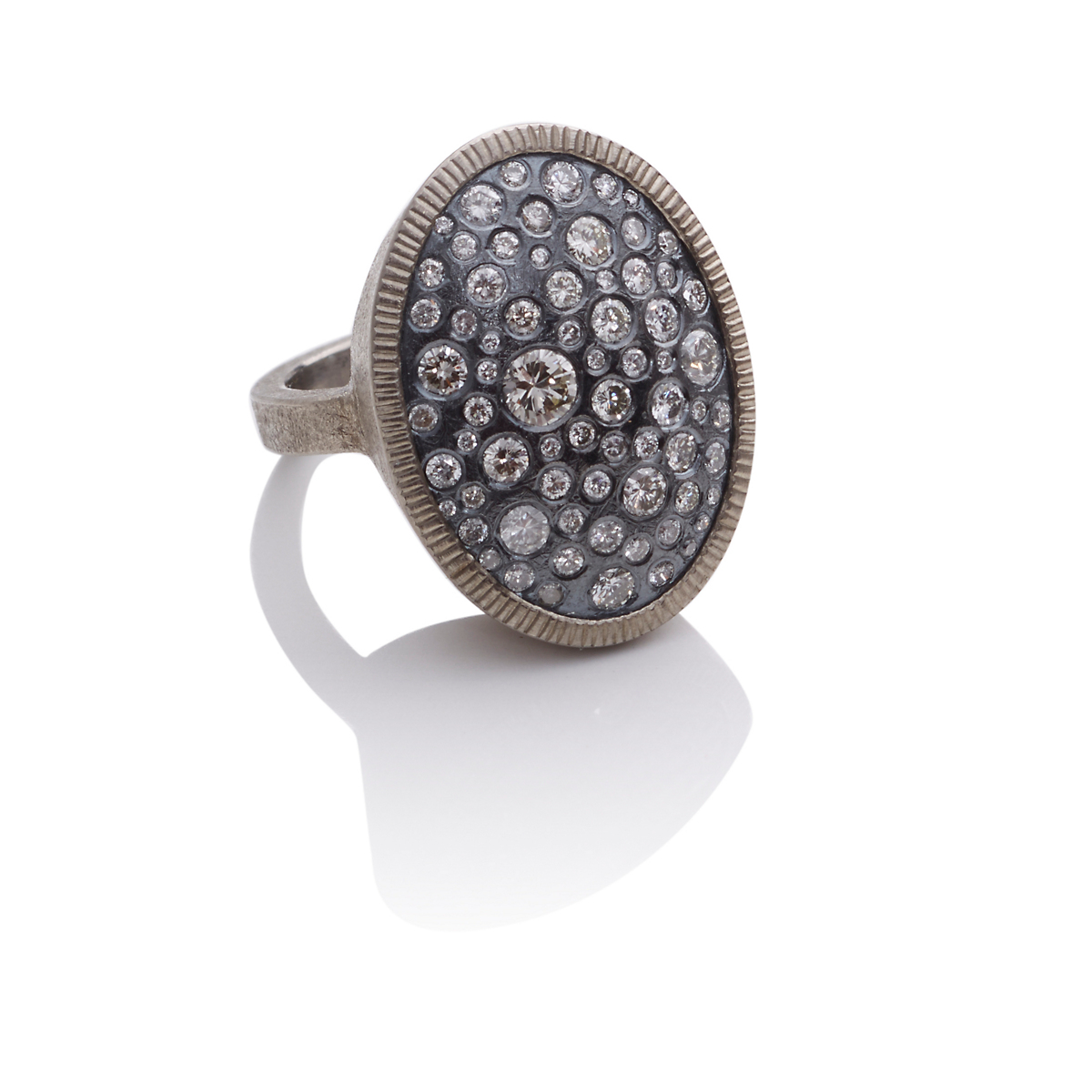 Todd Reed Palladium, Oxidized Silver & Diamond Oval Ring