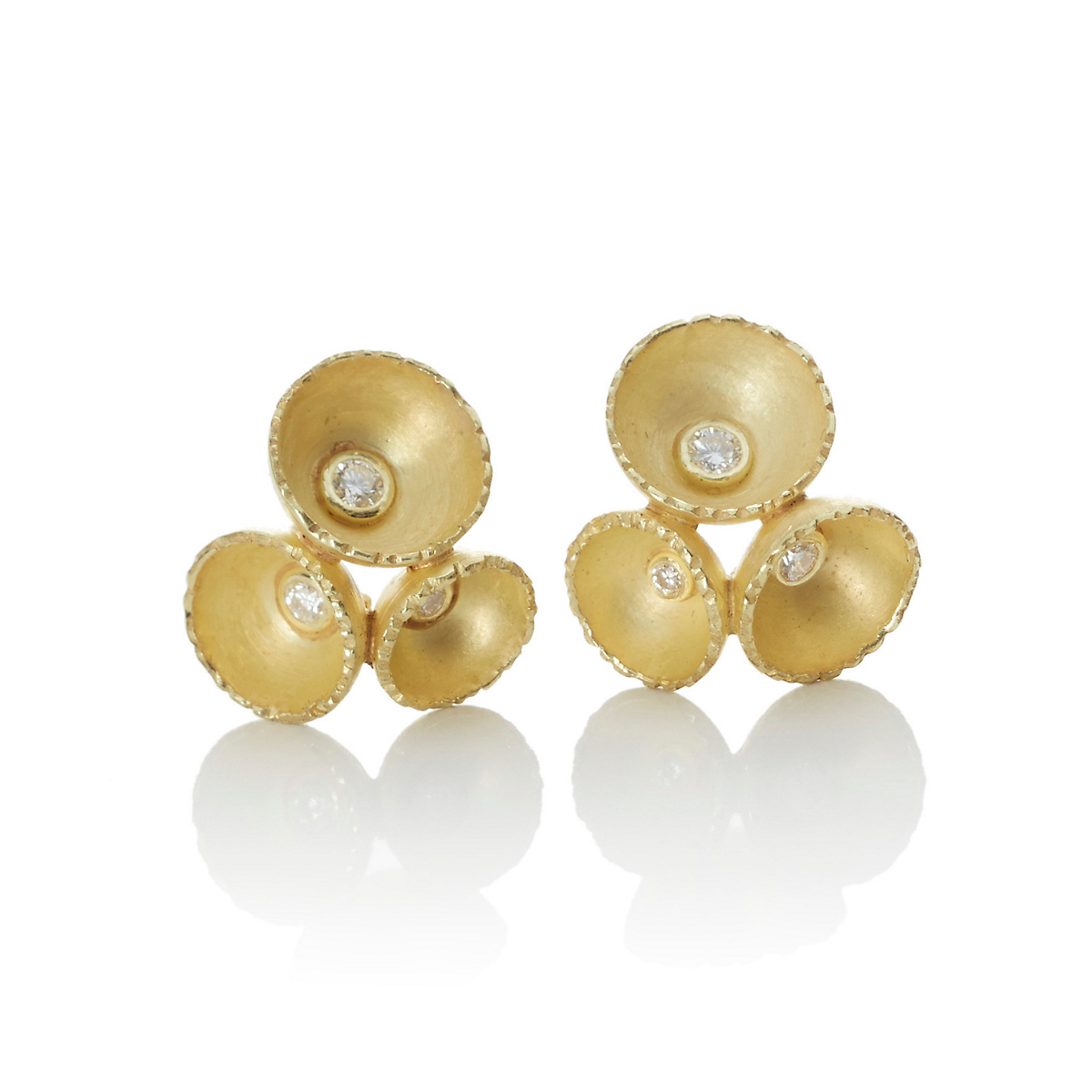 Barbara Heinrich Gold Cup & Diamond Earrings