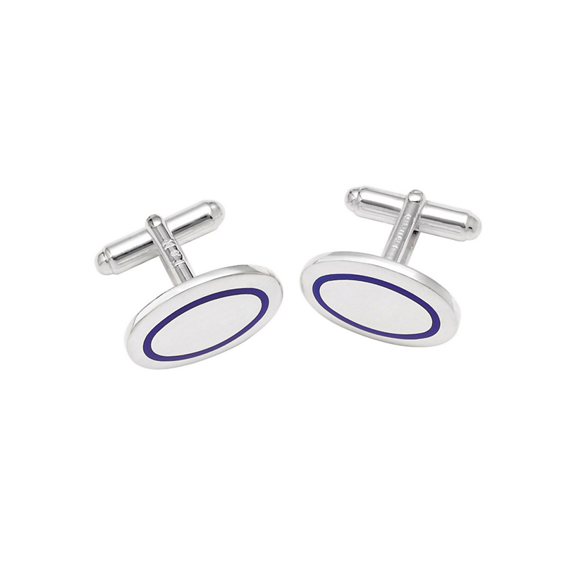 Sterling Silver & Enamel Oval Cufflinks