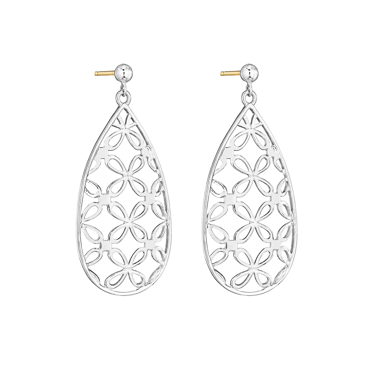 Sterling Silver Quatrefoil Pear Drop Earrings