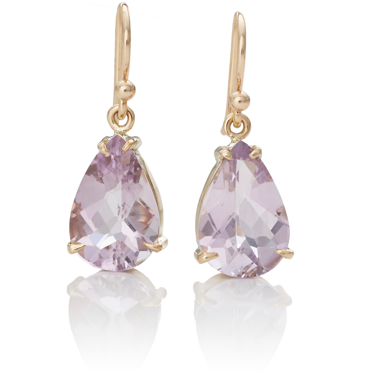 Gump's Lilac Quartz Gem Drop Gold Earrings