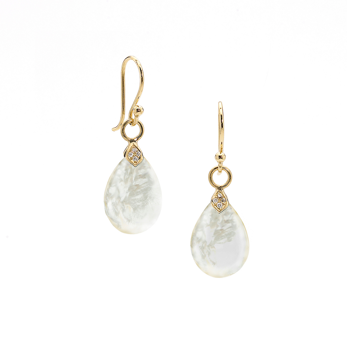 Elizabeth Showers Small Gold, Mother of Pearl & Diamond Eliza Earrings
