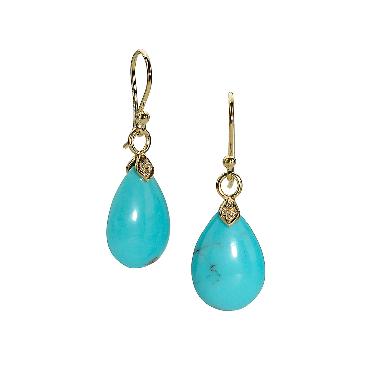 Elizabeth Showers Small Gold, Turquoise & Diamond Eliza Earrings