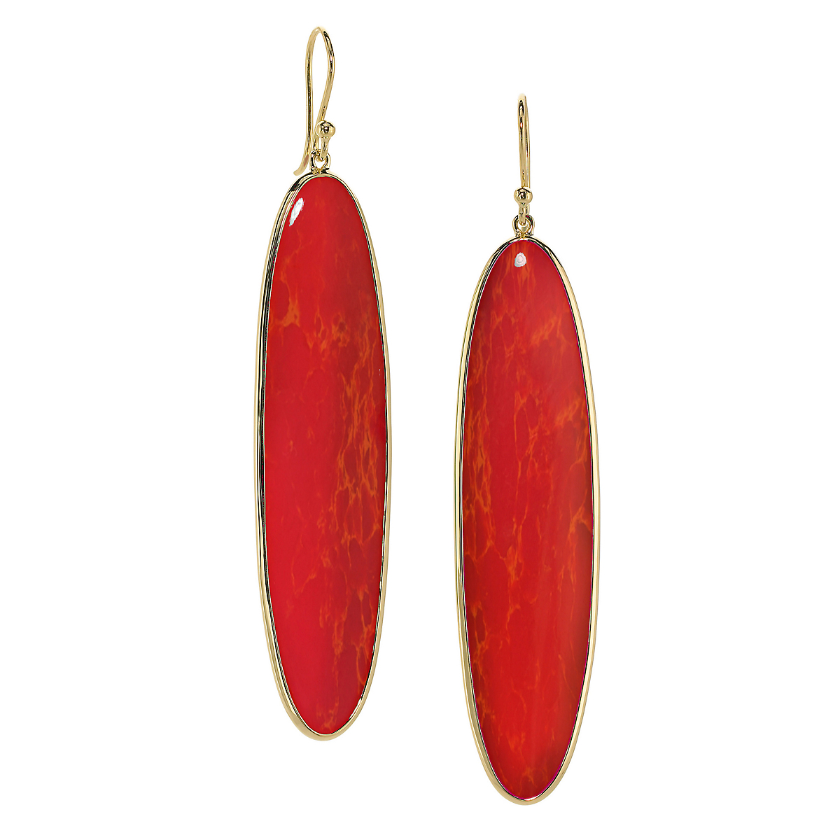 Elizabeth Showers Orange Coral Long Oval Earrings