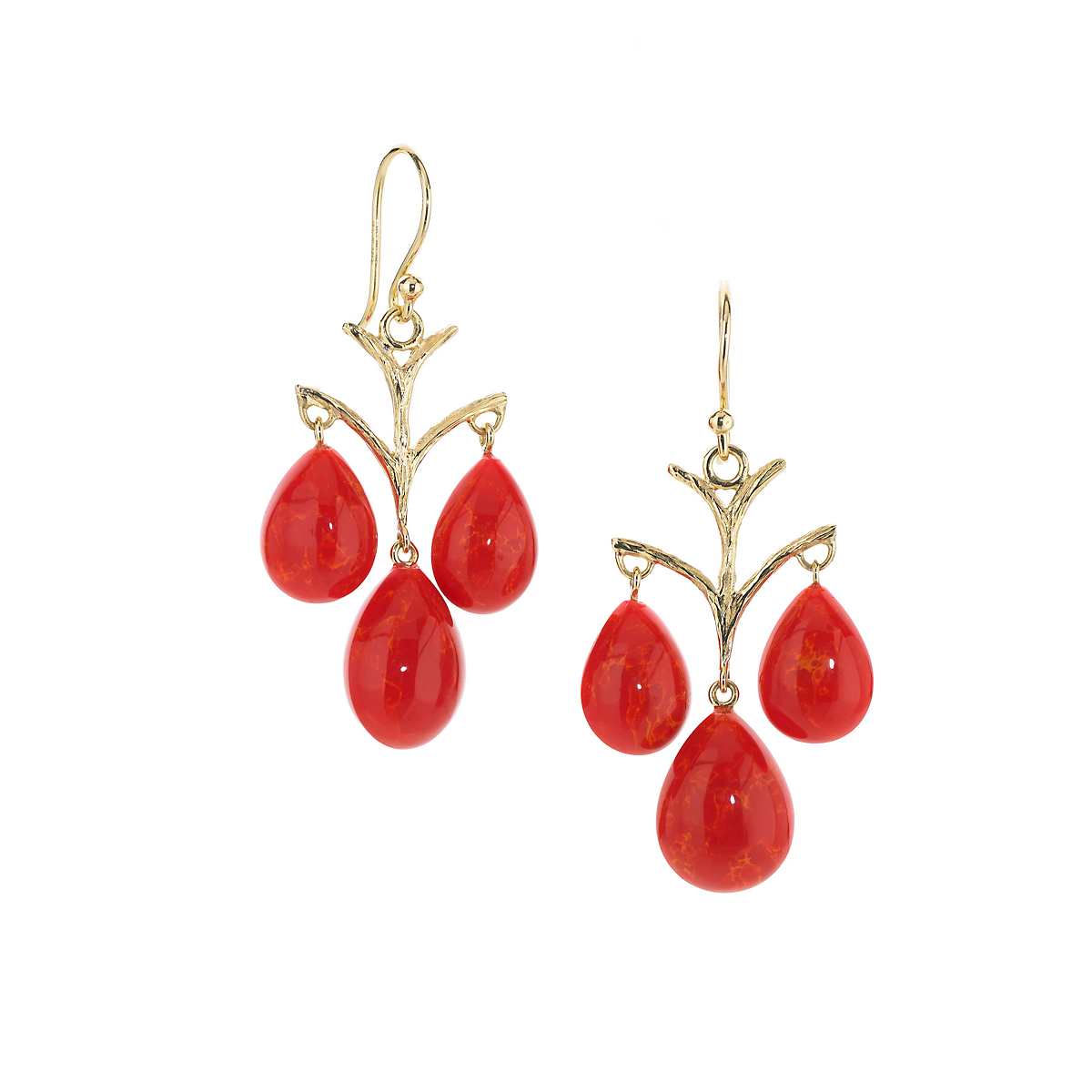 Elizabeth Showers Orange Coral Triple Drop Gold Earrings