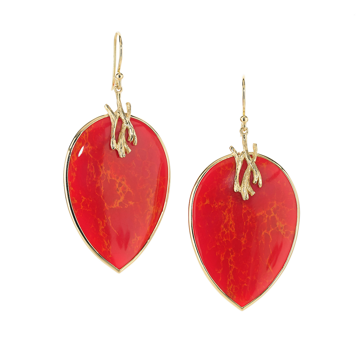 Elizabeth Showers Orange Coral Reverse Teardrop Gold Earrings