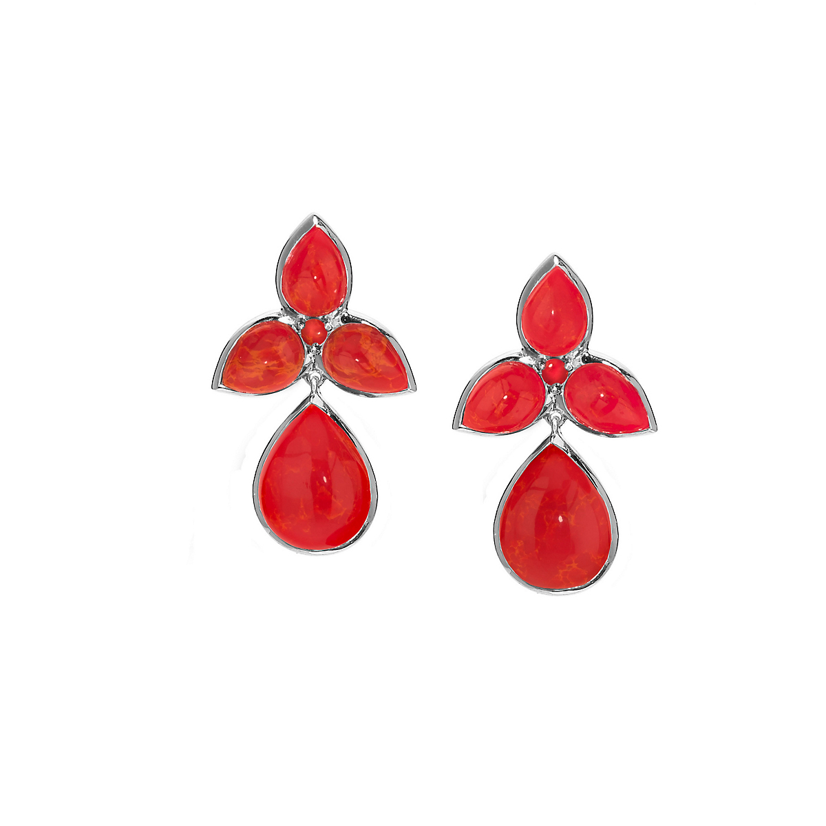 Elizabeth Showers Orange Coral Silver Mariposa Teardrop Earrings