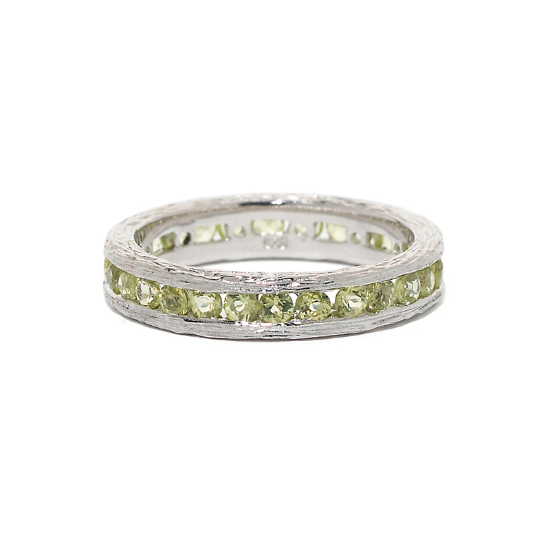 Elizabeth Showers Peridot Silver Stacking Ring