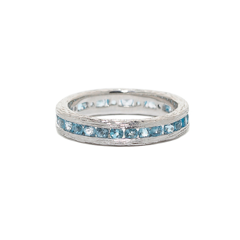Elizabeth Showers Blue Topaz Silver Stacking Ring