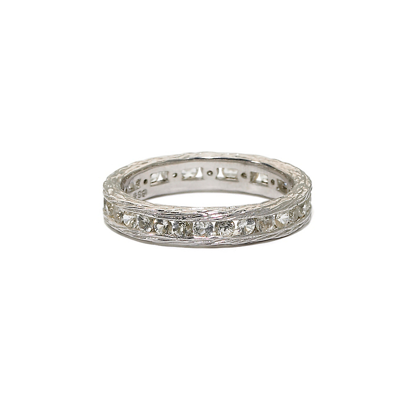 Elizabeth Showers White Sapphire Silver Stacking Ring