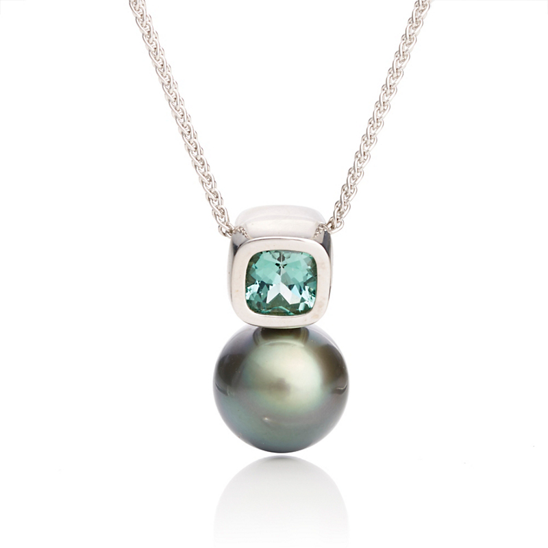 Gump's Mint Green Tourmaline & Tahitian Pearl Necklace