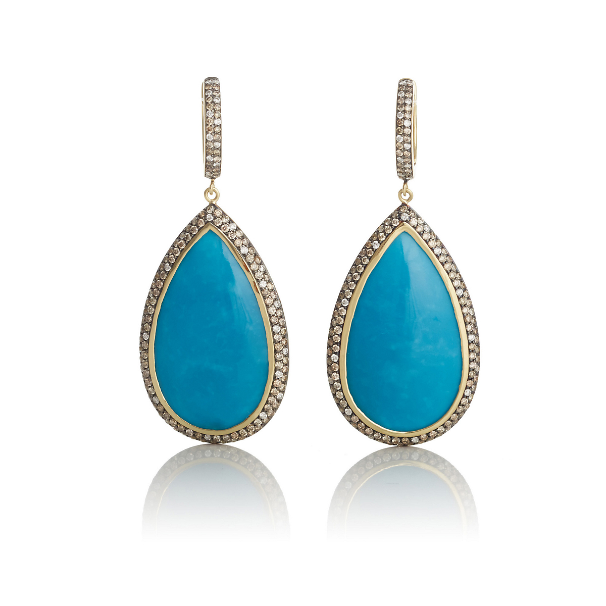 Turquoise & Diamond Border Teardrop Earrings