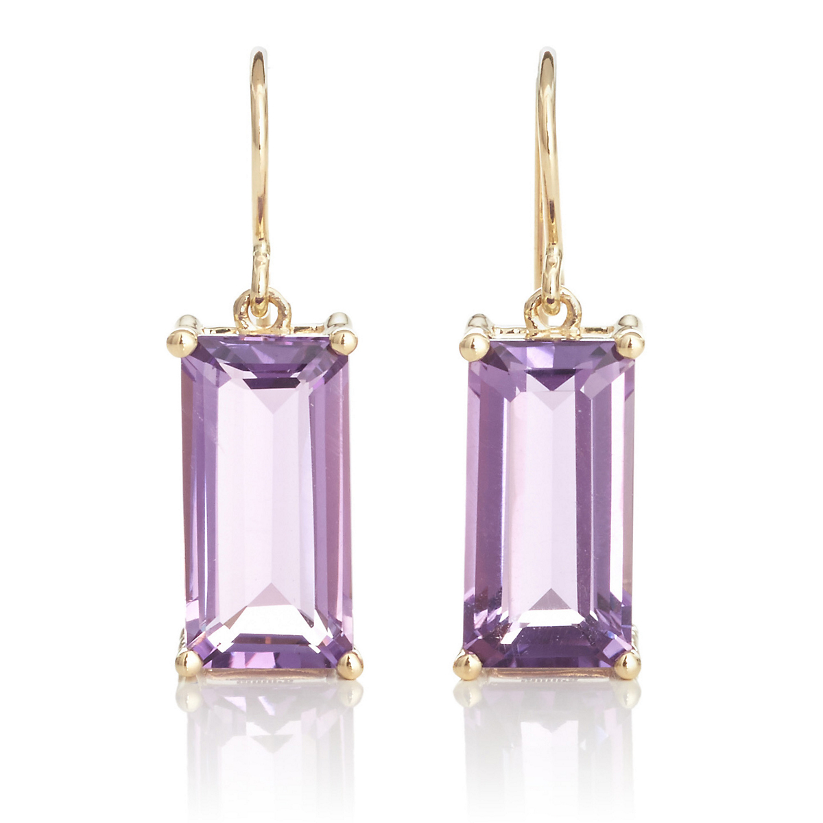 Gump's Faceted Amethyst Rectangle Gold Drop Earrings