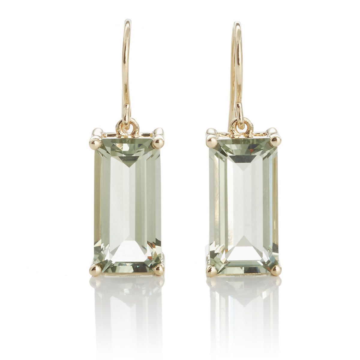 Gump's Faceted Green Amethyst Rectangle Gold Drop Earrings