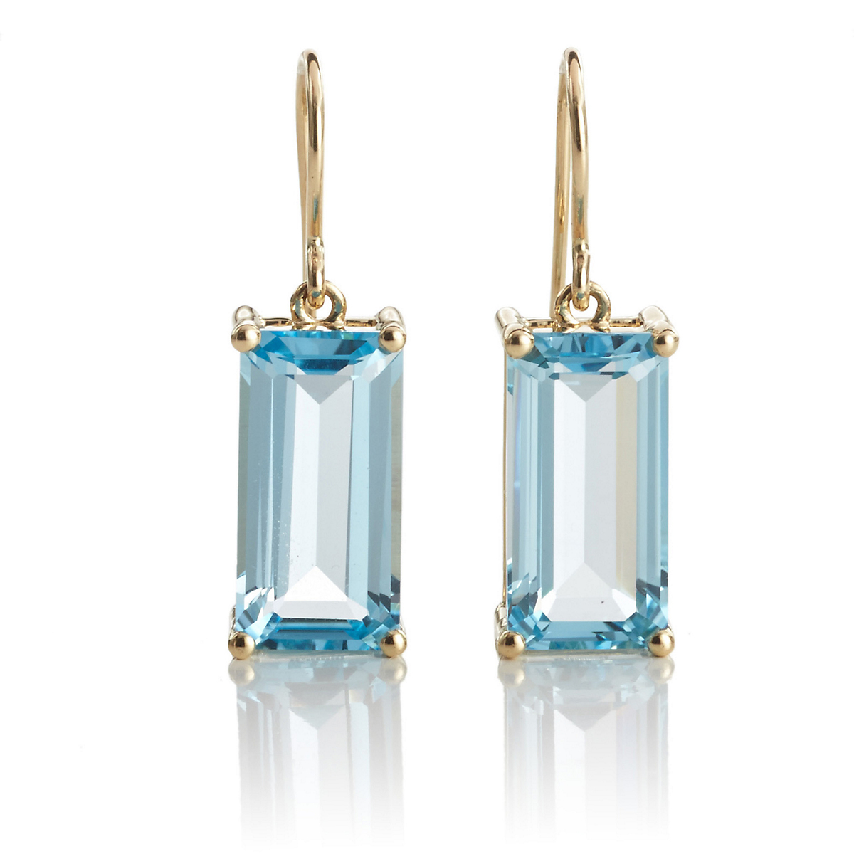 Gump's Faceted Sky Blue Topaz Rectangle Gold Drop Earrings