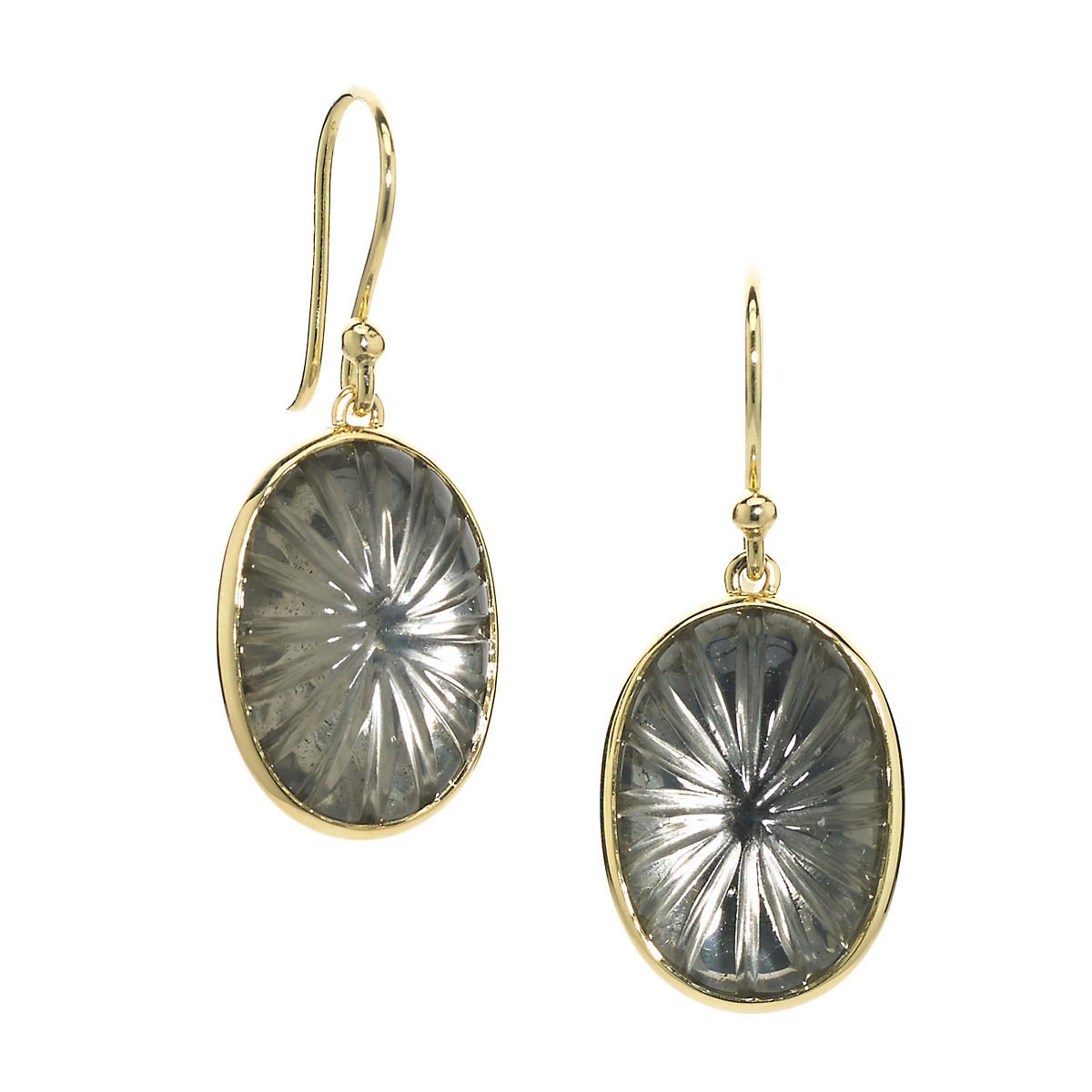 Elizabeth Showers Pyrite & Quartz Soleil Drop Earrings