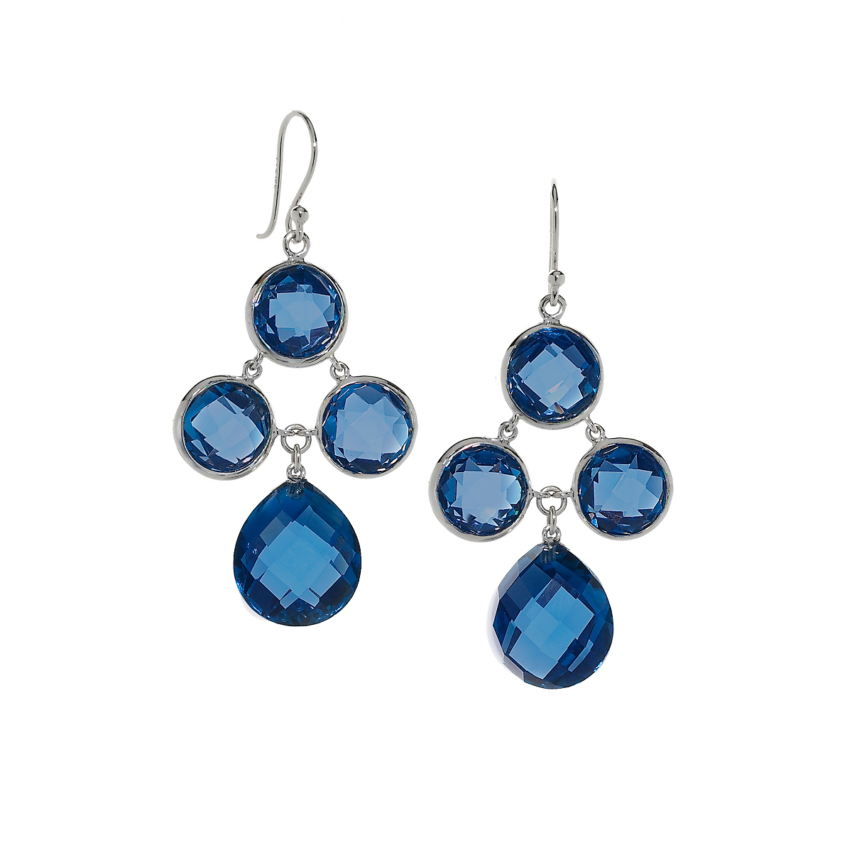 Elizabeth Showers Lab-Created Blue Sapphire Silver Audrey Earrings