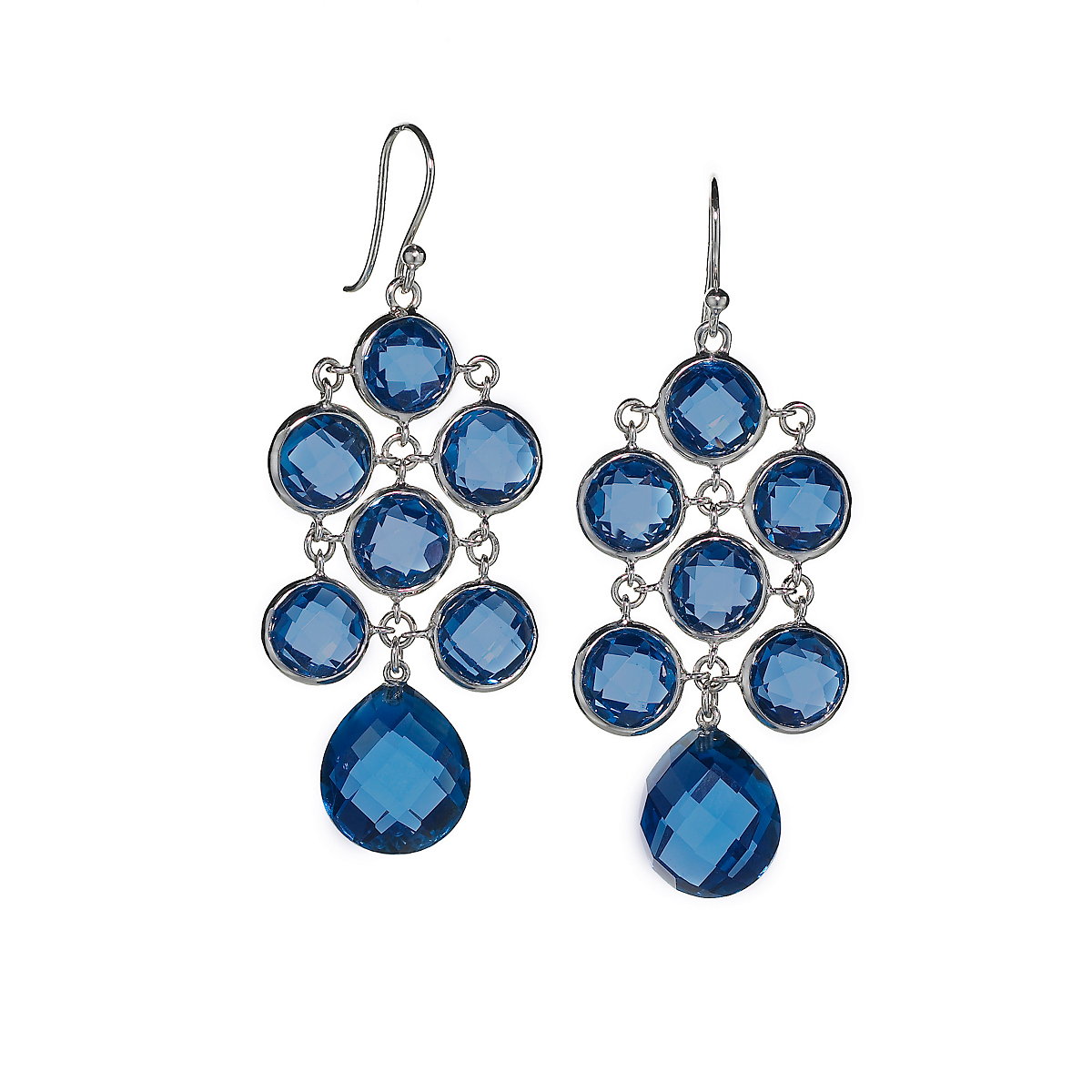 Elizabeth Showers Lab-Created Blue Sapphire Silver Juliette Earrings