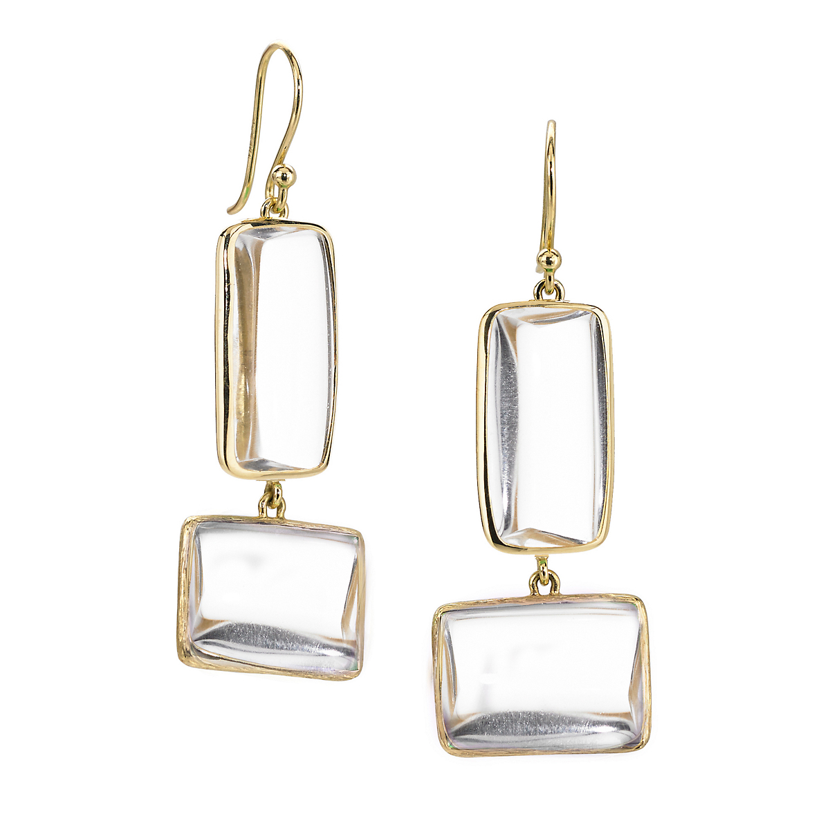 Elizabeth Showers Quartz Beveled Deco Two Drop Earrings