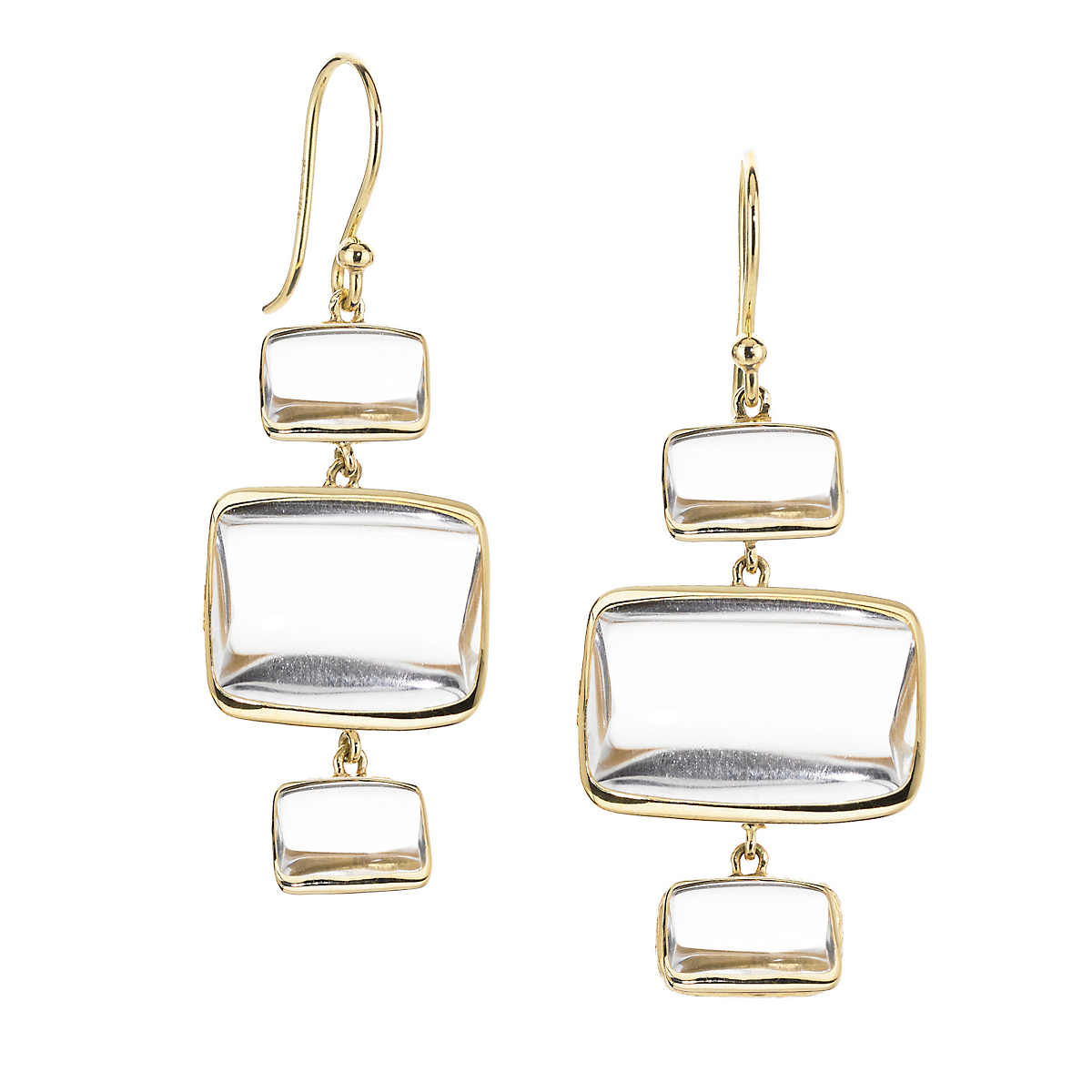 Elizabeth Showers Quartz Beveled Deco Three Drop Earrings