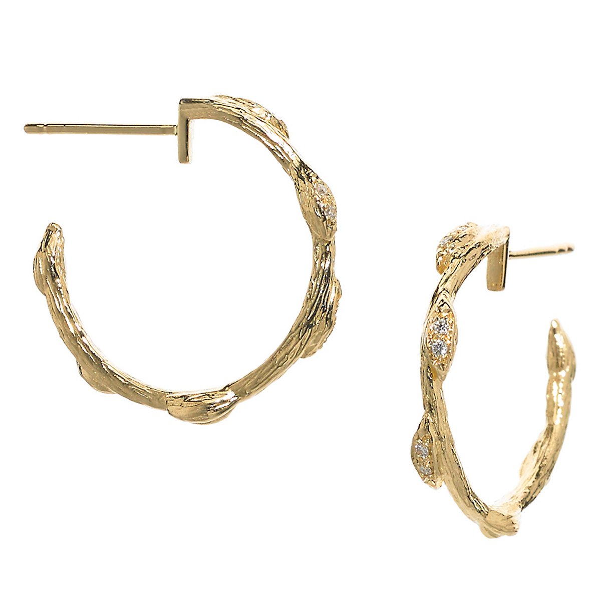 Elizabeth Showers Small Petal & Vine Diamond Hoop Earrings