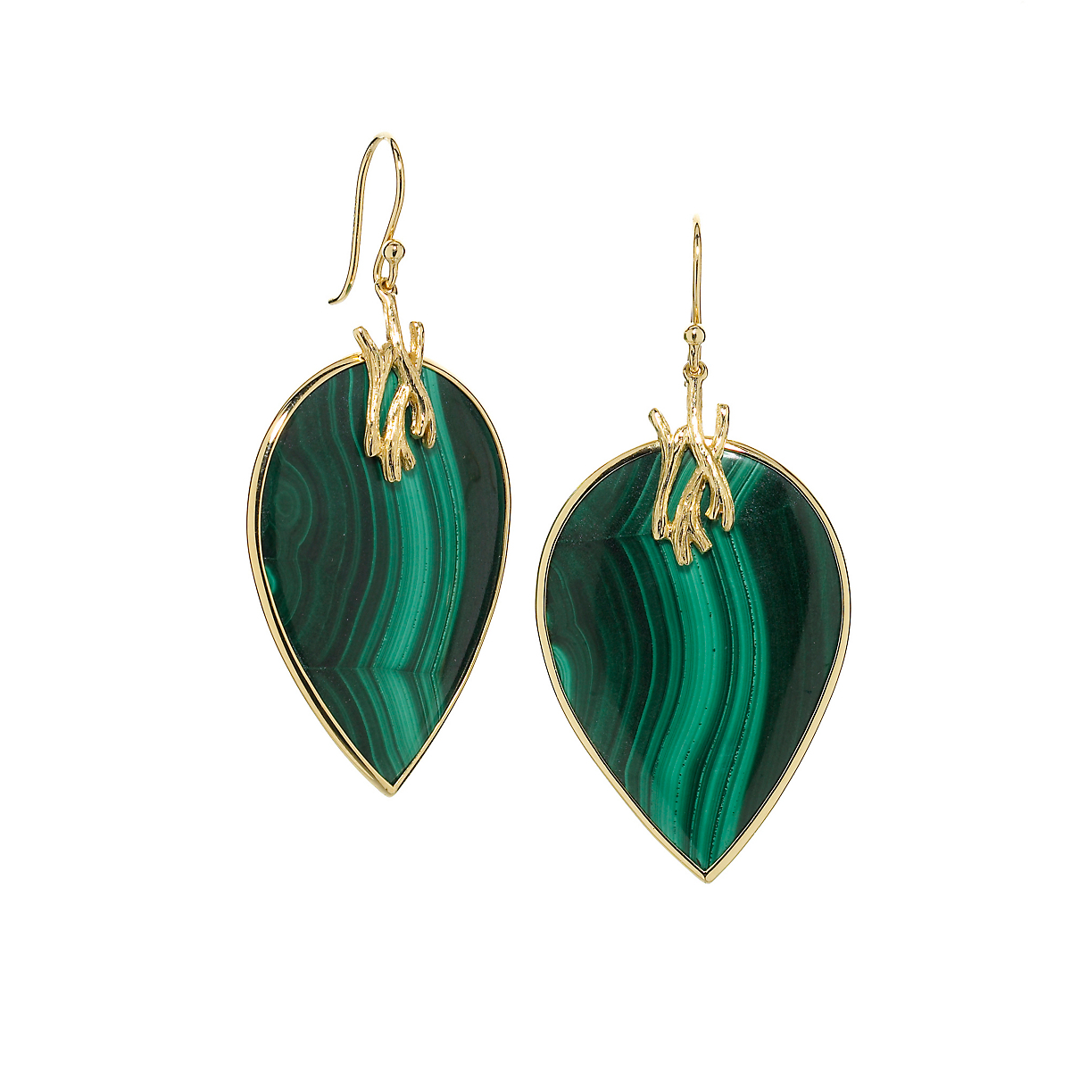 Elizabeth Showers Malachite Gold Drop Earrings