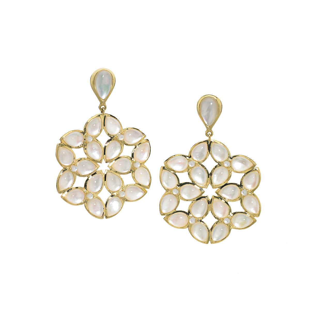 Elizabeth Showers Mother of Pearl & Quartz Kaleidoscope Earrings