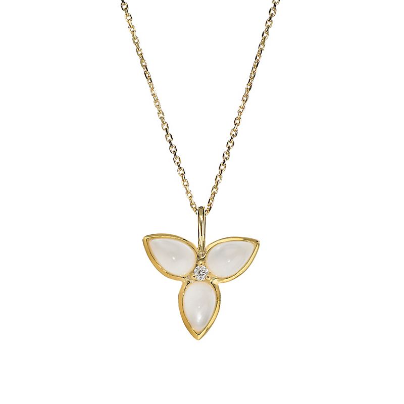 Elizabeth Showers Mother of Pearl Quartz & Diamond Mini Mariposa Pendant & Chain