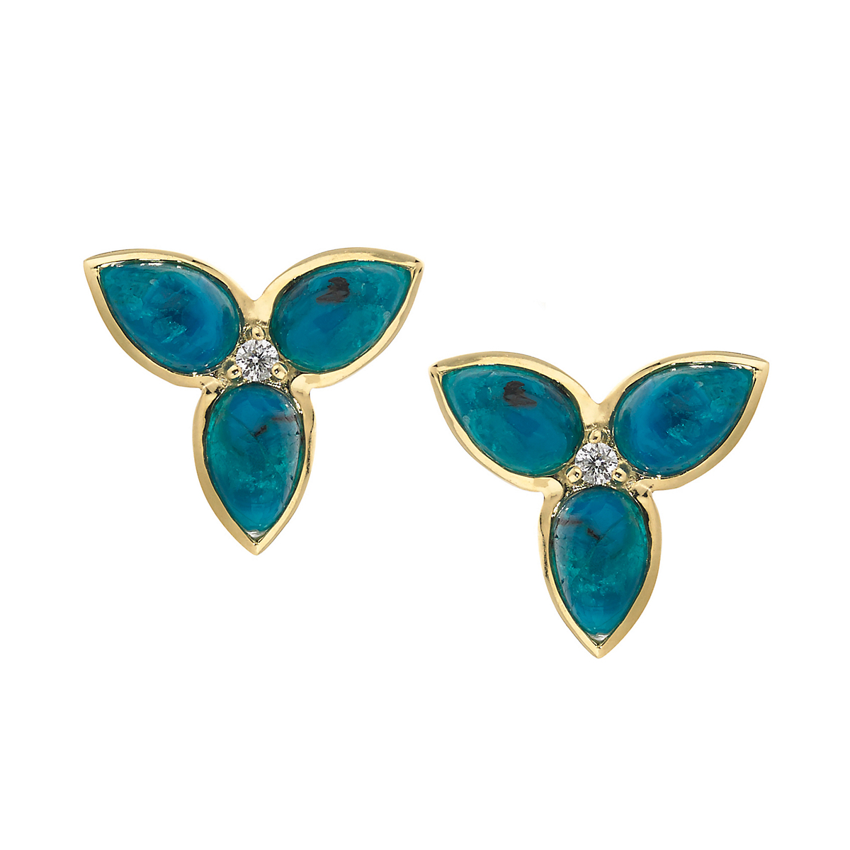 Elizabeth Showers Chrysacolla & Diamond Mini Mariposa Earrings