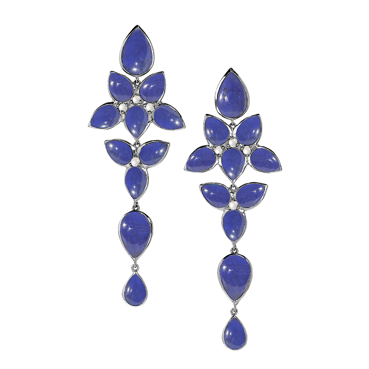 Elizabeth Showers Lapis Quartz & Moonstone Long Mariposa Earrings