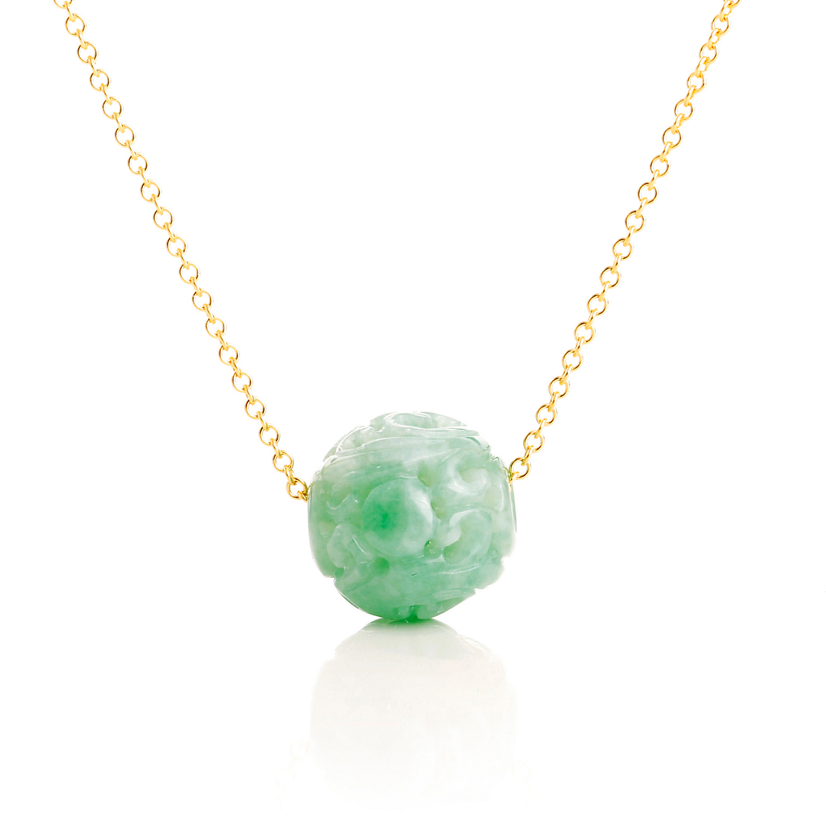 Gump's Green Jadeite Dragon Ball Pendant Necklace