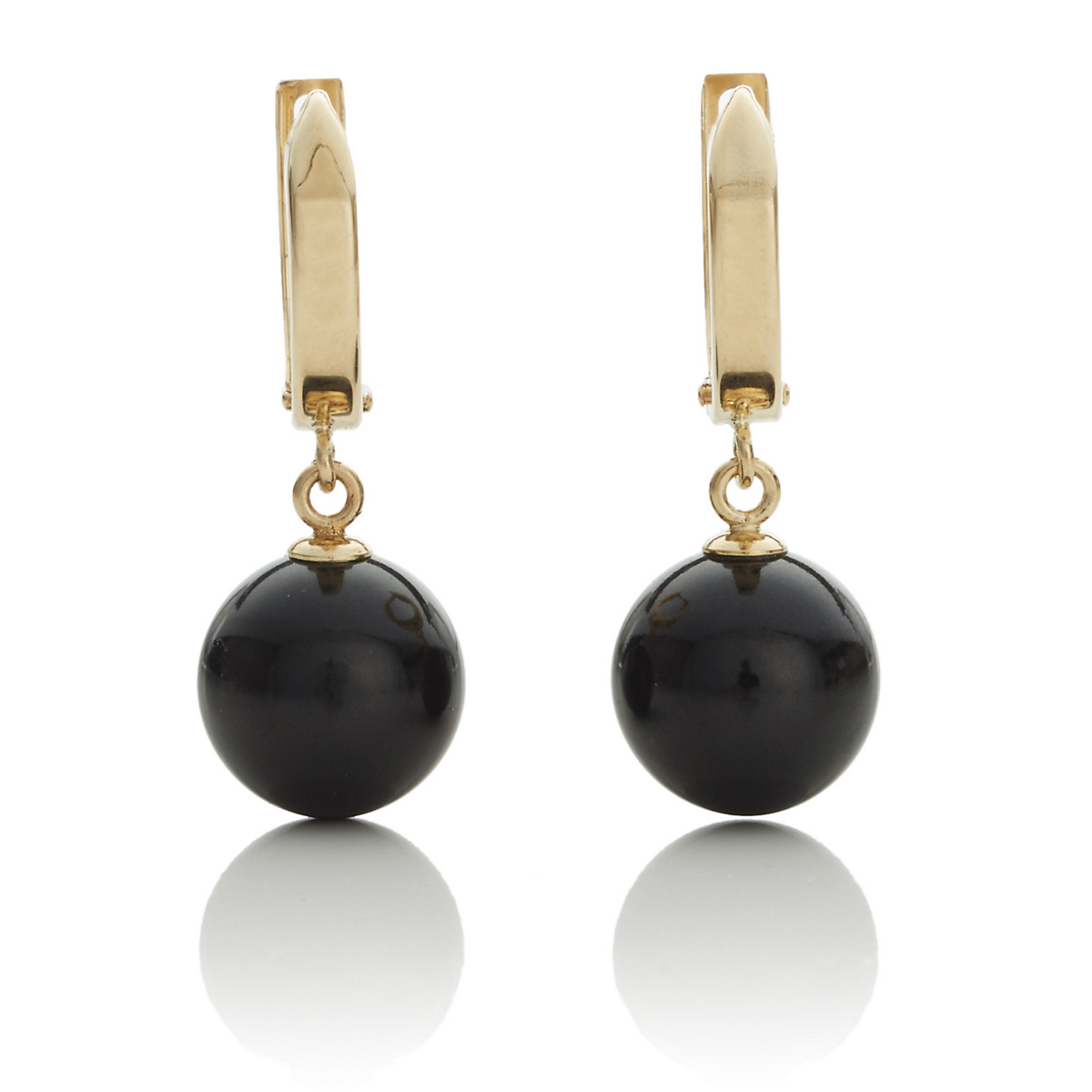 Gump's Gold Hoop & Black Nephrite Jade Drop Earrings