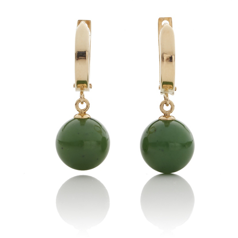 Gump's Gold Hoop & Green Nephrite Jade Drop Earrings