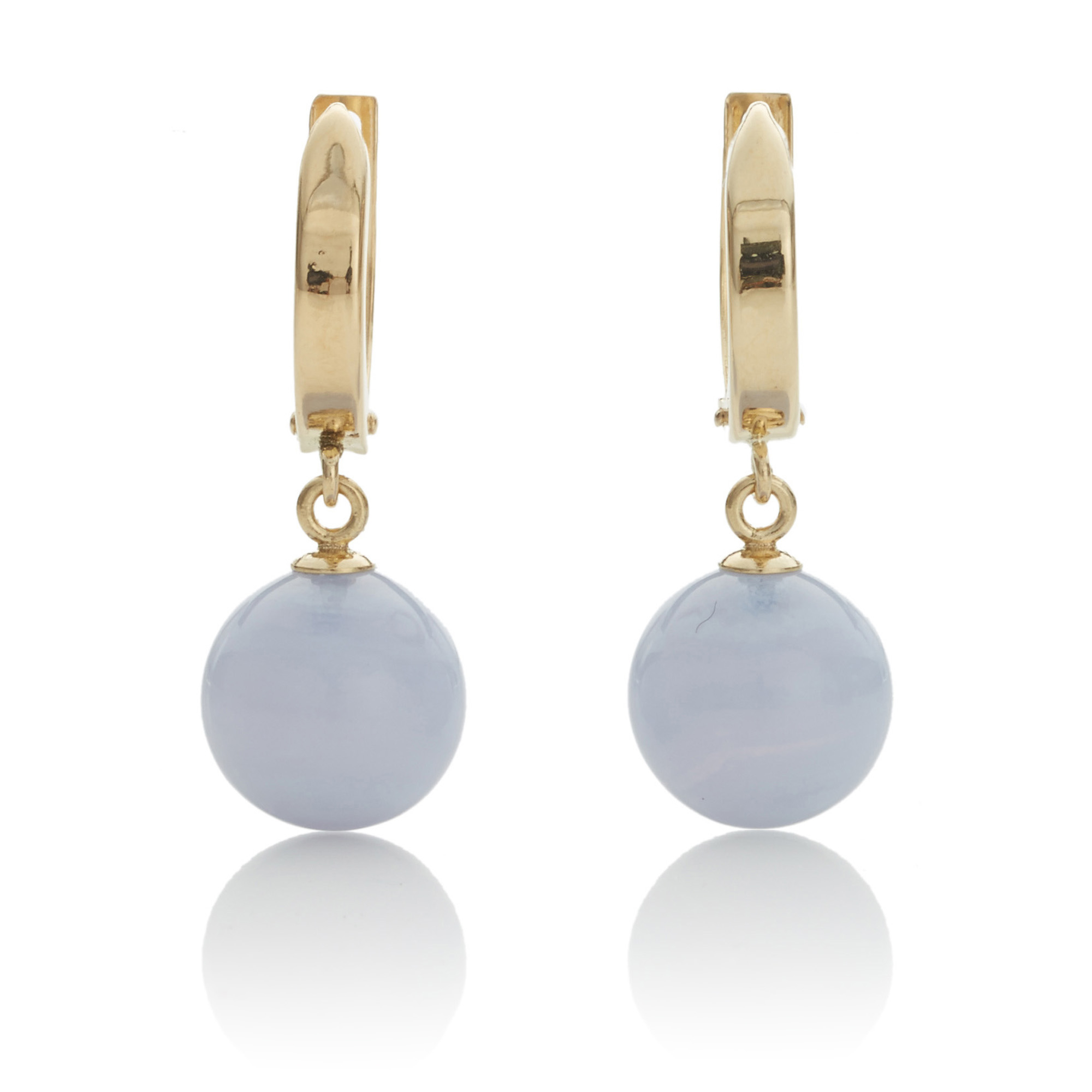 Gump's Gold Hoop & Blue Lace Agate Drop Earrings