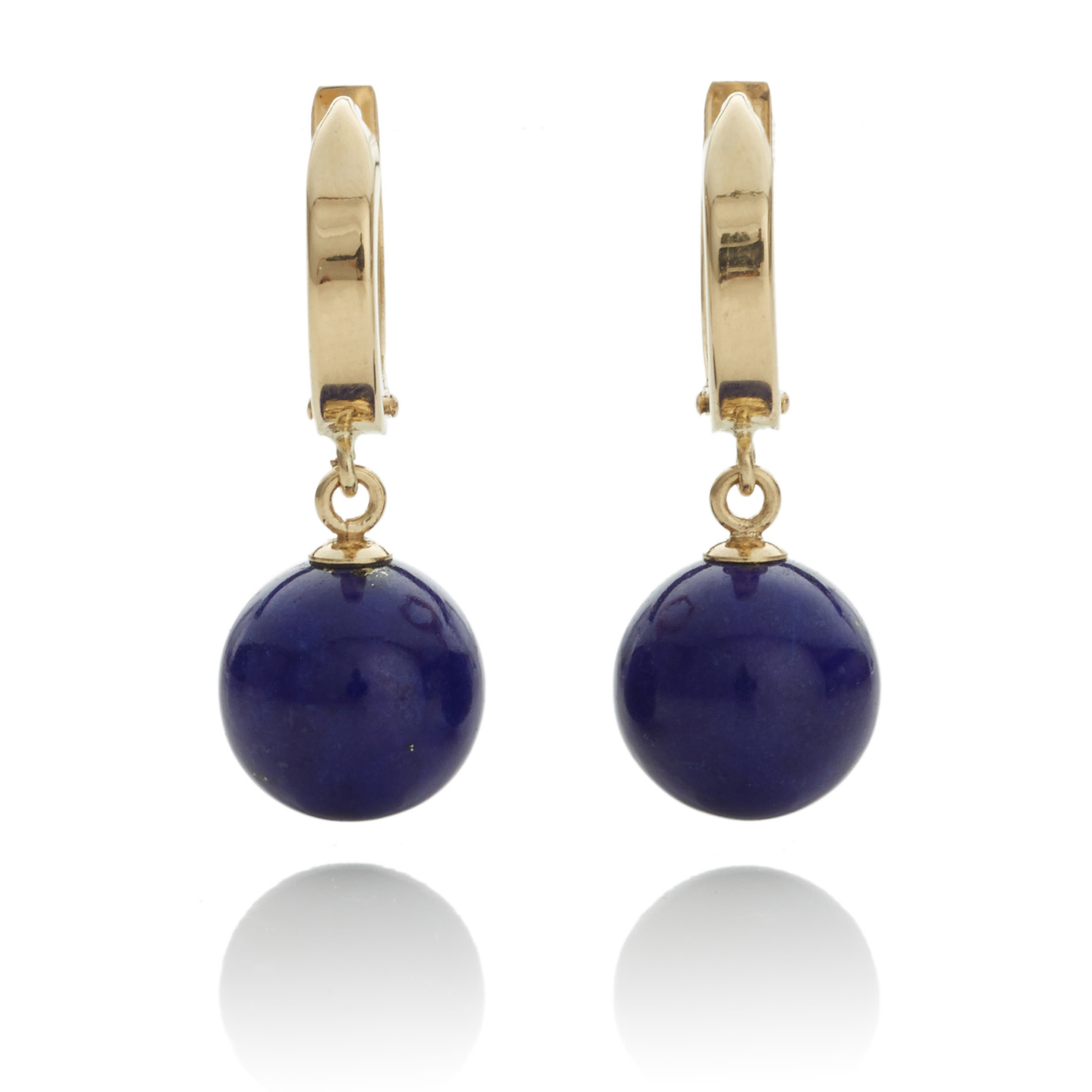 Gump's Gold Hoop & Lapis Drop Earrings