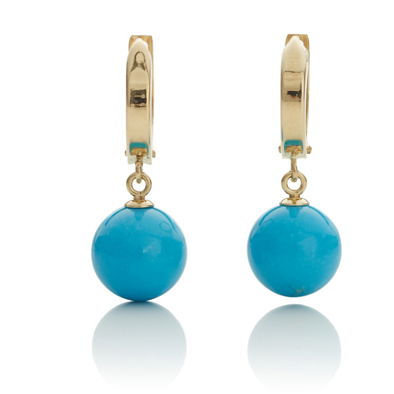 Gump's Gold Hoop & Turquoise Drop Earrings