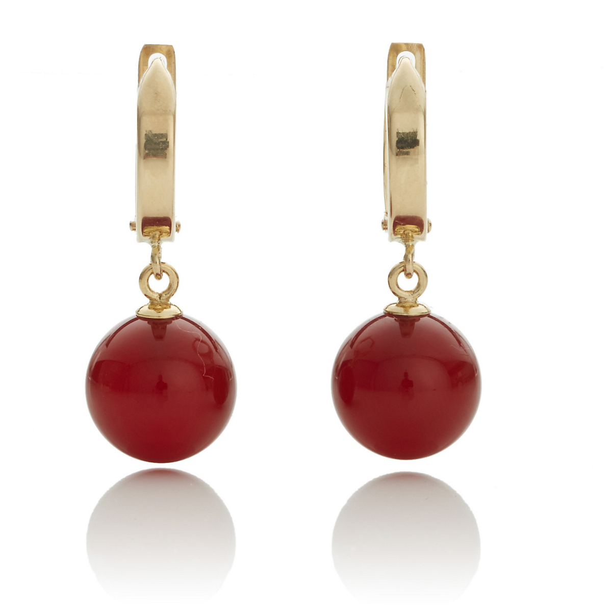 Gump's Gold Hoop & Carnelian Drop Earrings