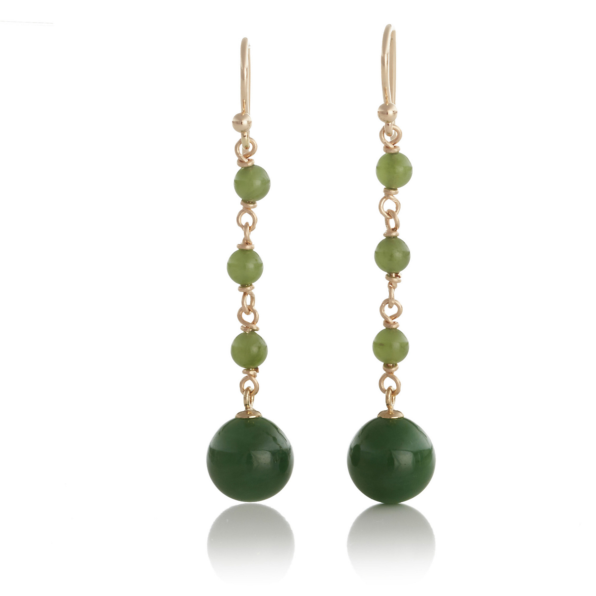 Gump's Green Nephrite Jade Bead Long Drop Earrings