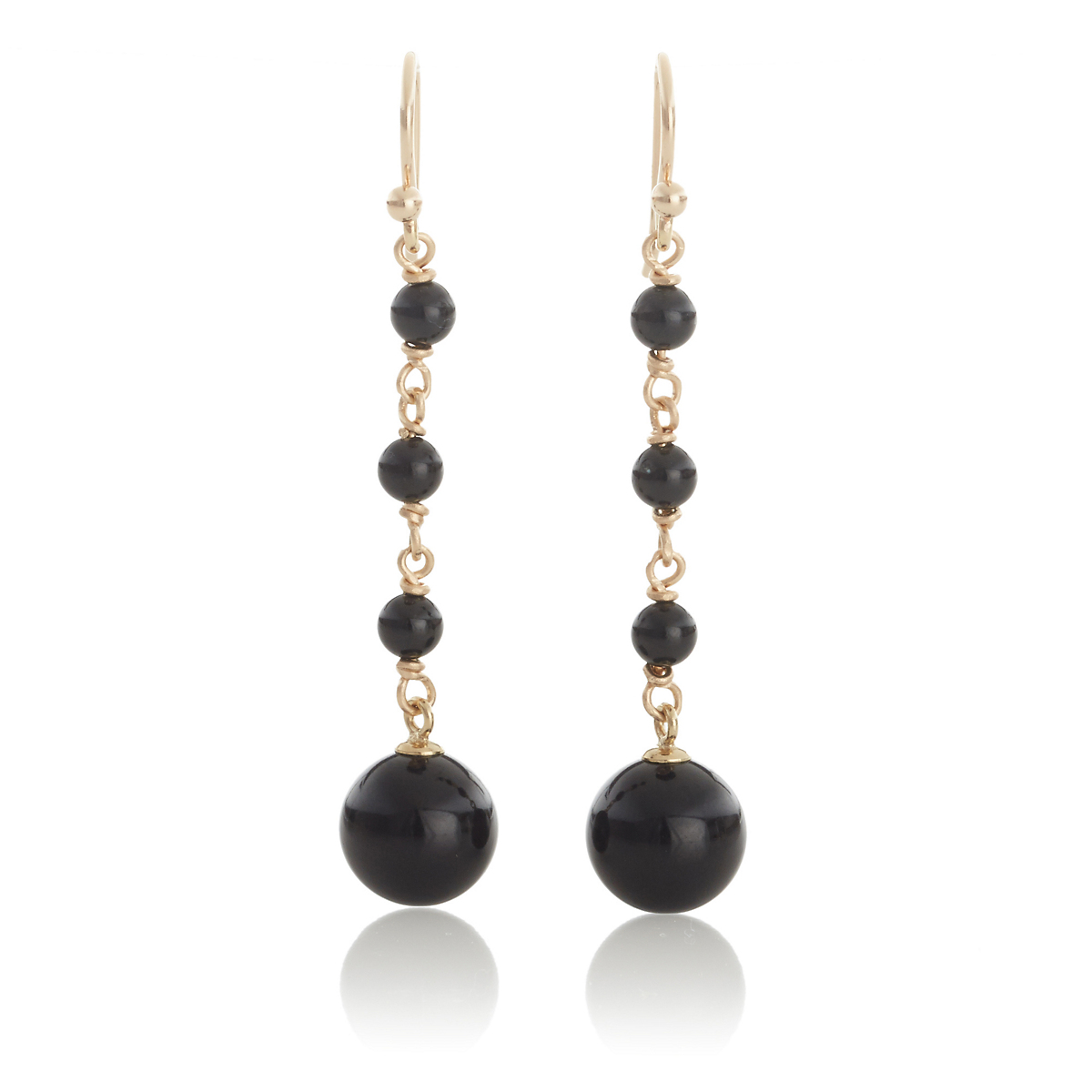 Gump's Black Nephrite Jade Bead Long Drop Earrings