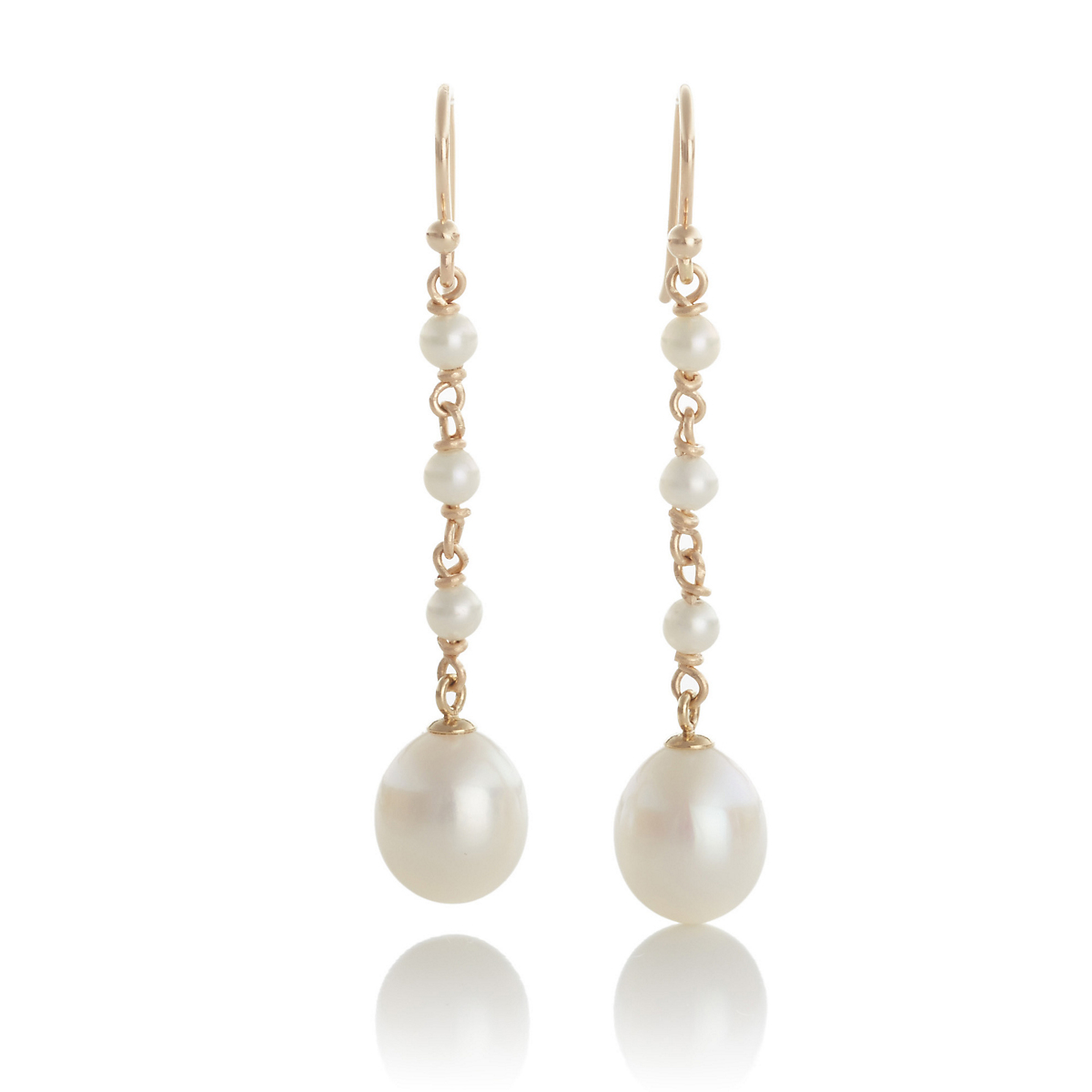Gump's White Pearl Long Drop Earrings