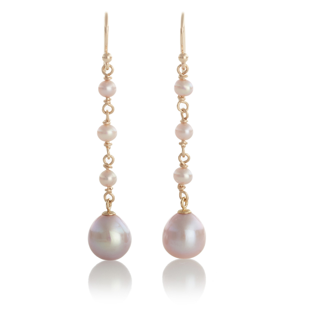 Gump's Pink Pearl Long Drop Earrings