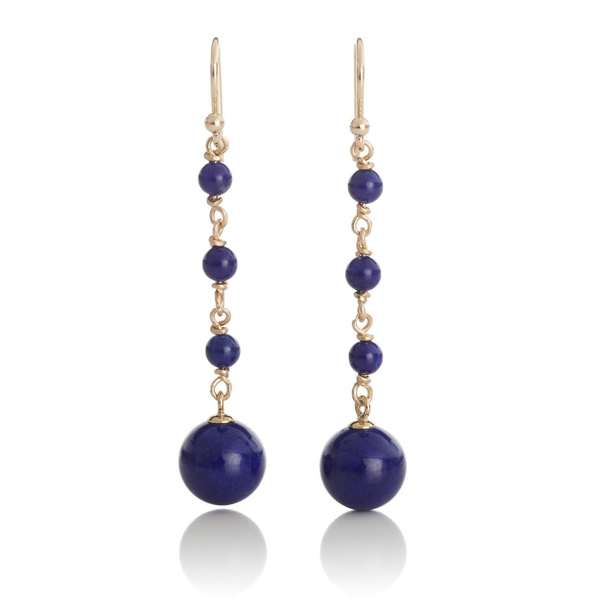 Gump's Lapis Bead Long Drop Earrings