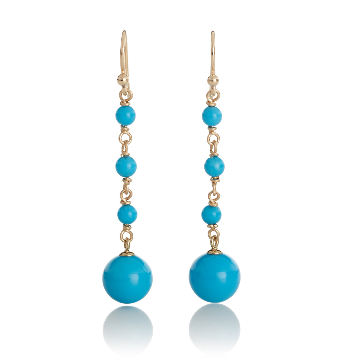 Gump's Turquoise Bead Long Drop Earrings