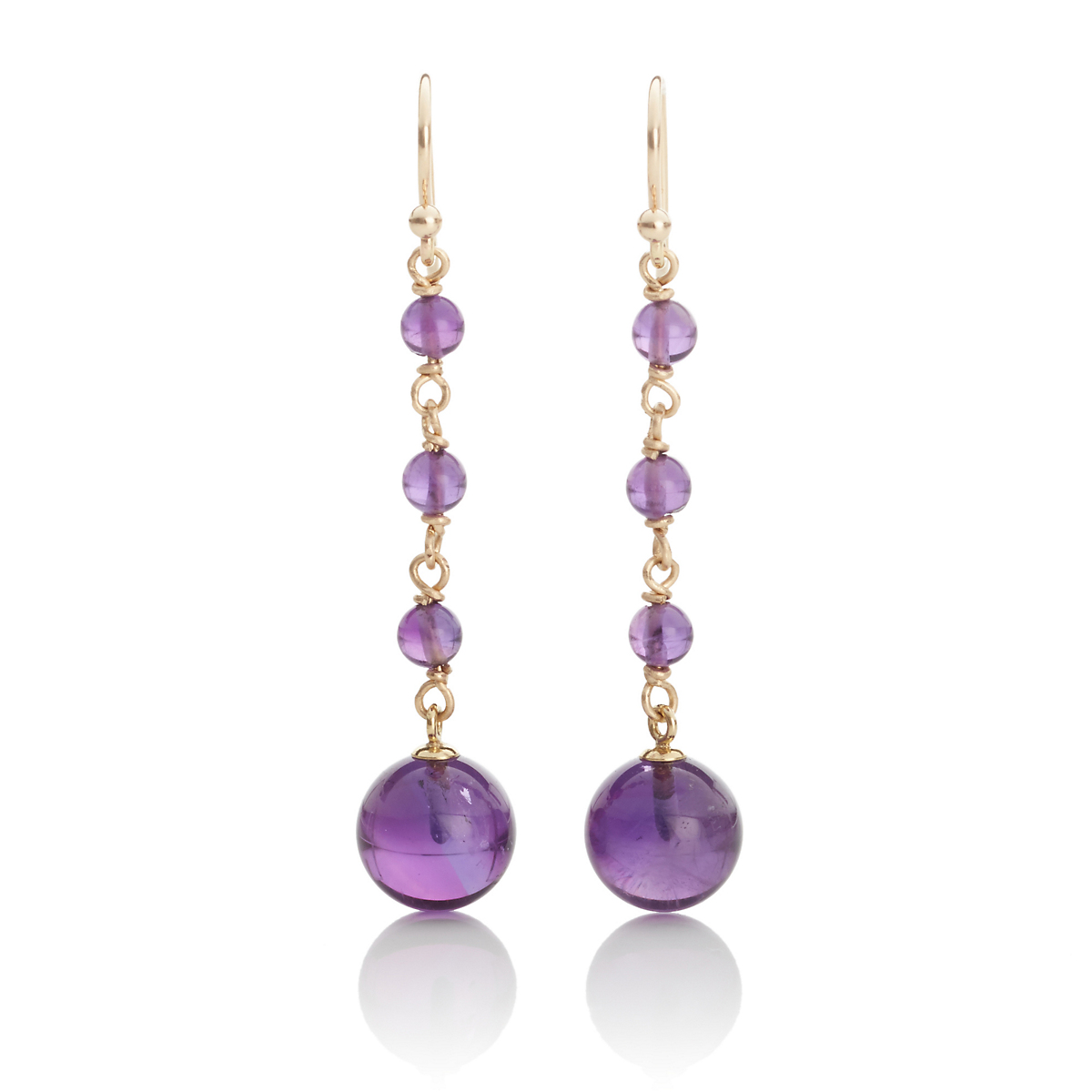 Gump's Amethyst Bead Long Drop Earrings
