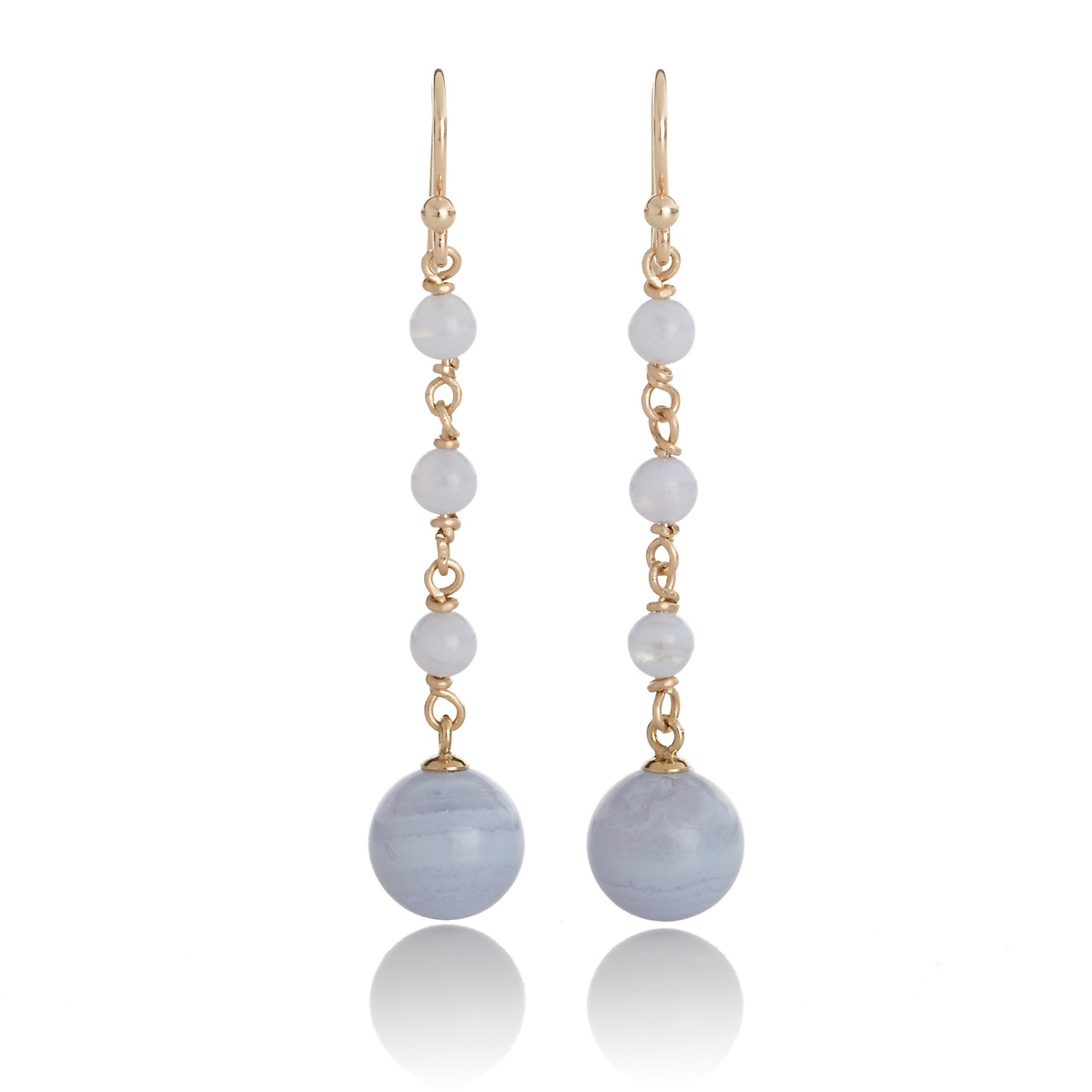Gump's Blue Lace Agate Bead Long Drop Earrings