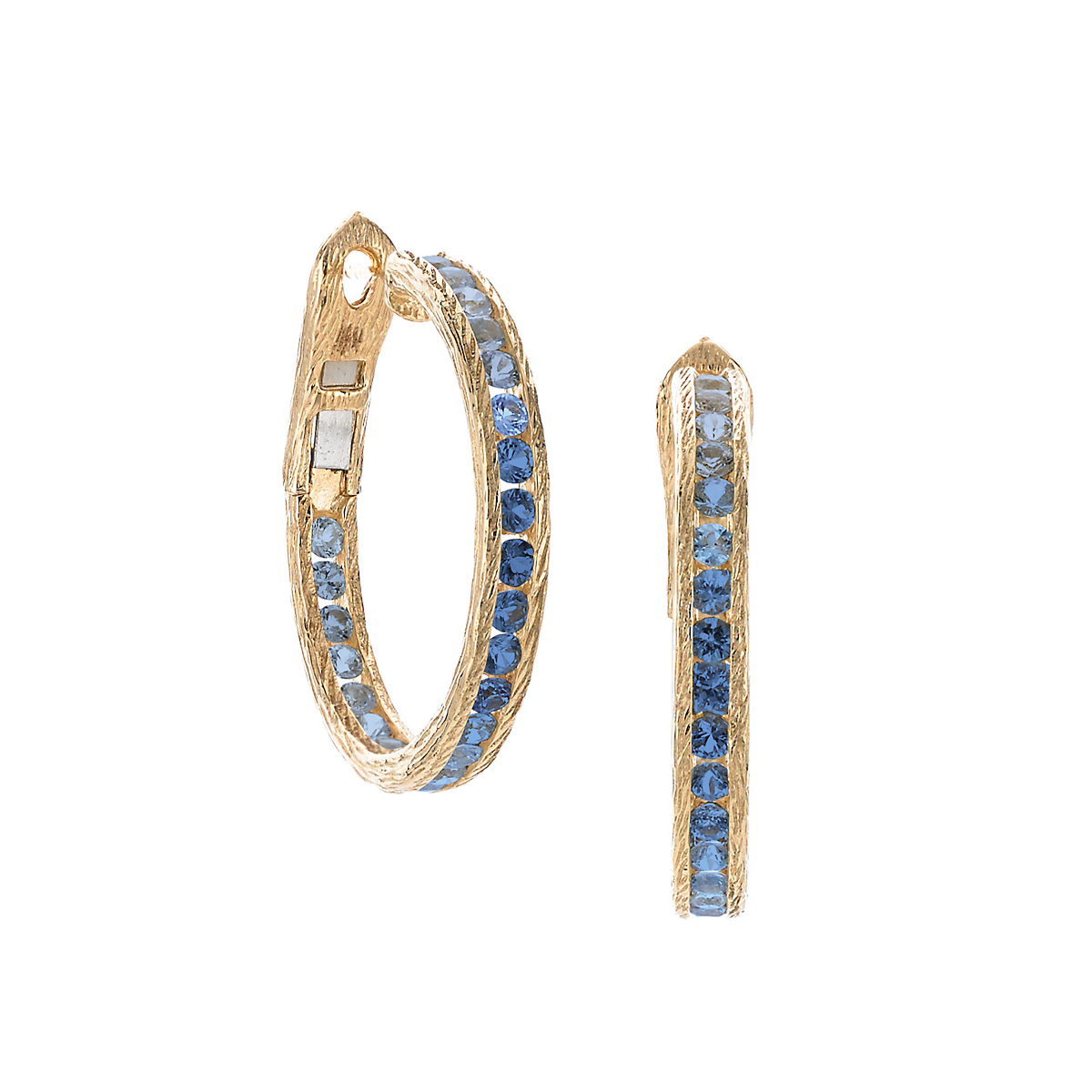 Elizabeth Showers Blue Sapphire Gold Hoop Earrings